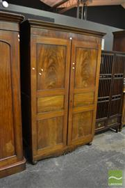 Sale 8472 - Lot 1009 - Flame Mahogany Wardrobe