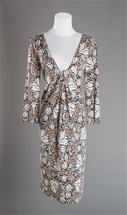 Sale 8493A - Lot 89 - A classic Dianne Von Furstenberg V neck printed dress with gathered front, size 8
