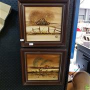Sale 8636 - Lot 2079 - 2 Works: Nick Peali- Landscapes, Acrylic, 22.5 x 23.5cm