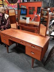 Sale 8822 - Lot 1009 - Butilux Teak Dressing Table with 5 Drawers, One Cenrtal and 2 Wing Mirrors