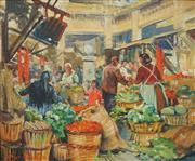 Sale 8738 - Lot 597 - Harry Marriot-Burton (1882 - 1979) - Market Scene 36.5 x 45cm