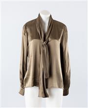 Sale 8760F - Lot 93 - A vintage Ungaro, Paris olive green silk blouse with neck tie, size 10