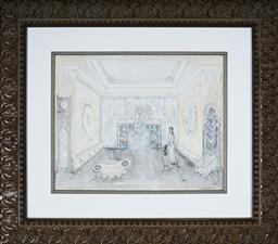 Sale 9123J - Lot 60 - Kenneth Rowell (1920 - 1999) White Interior gouache on paper 40 x 50 cm (frame: 72 x 82 x 3 cm) signed lower right
