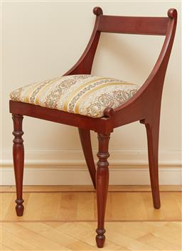 Sale 9098H - Lot 7 - A mahogany upholstered chair of diminutive size, Height of back 74cm