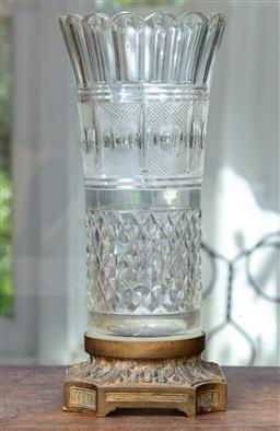Sale 9120H - Lot 55 - A cut glass cylindrical vase on copper base, Height 29.5cm