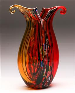 Sale 9122 - Lot 79 - Large Art Glass Red and Yellow Vase H:36.5cm