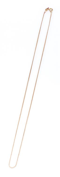 Sale 9213 - Lot 343 - A 9CT GOLD SERPENTINE LINK CHAIN; attached with a bolt ring clasp, length 49cm, wt. 2.88g.