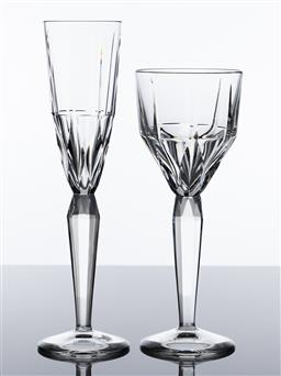 Sale 9255H - Lot 33 - Saint Louis crystal Metropolis 2017 goblet, Height 22.5cm, RRP $485, and a champagne flute RRP $470.