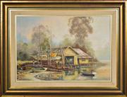 Sale 8349A - Lot 44 - William Golding (1928 - ) - The River Boat Shed 40 x 58cm