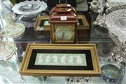 Sale 8360 - Lot 41 - Elliot Clock by Hardy Brothers with Small Gilt Framed Wedgwood Dancers