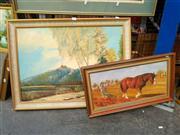 Sale 8663 - Lot 2143 - 2 Works: Artist Unknown - Hilltop Village, oil on Board, SLR & A.Townsend - Plowing, oil on board, SLL