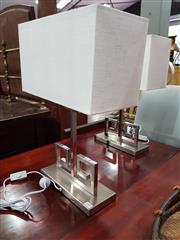 Sale 8740 - Lot 1089 - Pair of Chrome Based Table Lamps