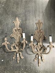 Sale 9051 - Lot 1081 - Ornate Pair Of Composite Twin Arm Wall Sconces (H83 x 35cm)