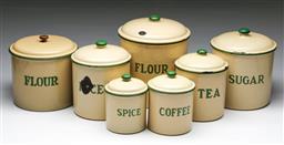 Sale 9148 - Lot 16 - Set of graduating enamelled kitchen cannisters (H:27cm Dia:22cm)