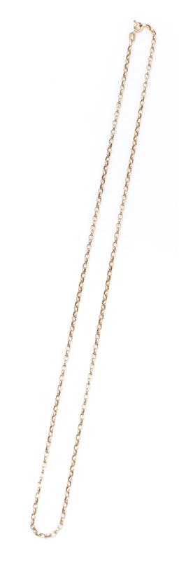 Sale 9213 - Lot 341 - A 9CT GOLD BELCHER LINK CHAIN; attached with a bolt ring clasp, length 56cm, wt. 5.74g.