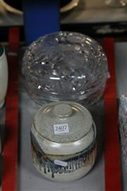 Sale 8346 - Lot 71 - Crystal Lidded Bowl & Lidded Studio Pottery Jar