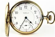Sale 8402W - Lot 6 - WALTHAM RIVERSIDE MAXIMUS FULL HUNTER POCKET WATCH; white dial Arabic numerals, subsidiary seconds on a 23 jewell movement with gold...