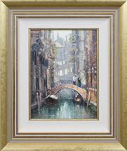 Sale 8420 - Lot 502 - Ramon Ward-Thompson (1941 - ) - Canal Scene 30 x 22.5cm