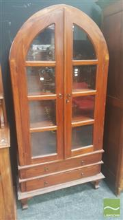 Sale 8447 - Lot 1017 - Arched Top Display Cabinet 2 Doors 2 Drawers