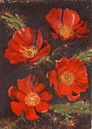 Sale 8518 - Lot 2020 - Artist Unknown - Still Life Red Flowers 35 x 25cm