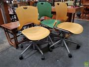 Sale 8625 - Lot 1039 - Pair of Yellow Herman Miller Office Chairs & Green Example (3) -