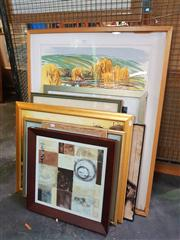 Sale 8663 - Lot 2125 - 8 Works incl Flamingo Watercolour, Moulin Rouge Oil & Darth Vader Print