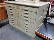 Sale 8765 - Lot 1093 - Superb 1940s 2 piece 8 Drawer Map Chest with impressed stamp