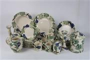 Sale 8747 - Lot 61 - Bridgewater Spongeware Part Dinner/Tea Service inc Cannisters