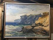 Sale 8754 - Lot 2026 - James Radford - Coastal Landscape oil on canvas board, 60.5 x 80cm (frame), signed lower left -