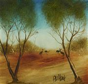 Sale 9084 - Lot 514 - Kevin Charles (Pro) Hart (1928 - 2006) - Emus 26 x 28 cm (frame: 42 x 44 x 3 cm)