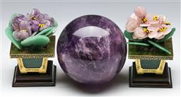 Sale 9144 - Lot 48 - A large amethyst ball (Dia:11cm) together with a pair of miniature gemstone trees