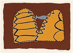 Sale 9212A - Lot 5077 - SHIRLEY PURDIE (1948 - ) - Barramundi Dreaming 40.5 x 56.5 cm (mount: 66 x 83 cm)