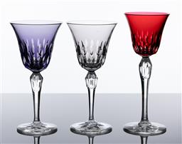 Sale 9255H - Lot 75 - A group of 3 St Louis crystal Stella 1959 wine glasses including cranberry, Height 21.5cm, amethyst and smoky grey, tallest Height...