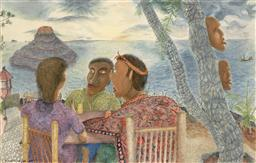 Sale 9252A - Lot 5057 - MICHA NUSSINOV Morning Conversation, Bali, 1989 watercolour 65.5 x 103 cm (frame: 95 x 135 x 3 cm) signed and dated lower left