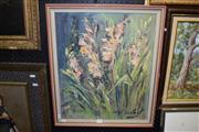 Sale 8410T - Lot 2038 - Artist Unknown (XX) (French) - Pink Gladiolus 53.5 x 44cm
