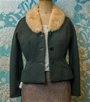 Sale 8420A - Lot 100 - A vintage 1940s Brands Arcade Belfast rabbit fur collar woollen jacket in forest green, fitted size: 10/12