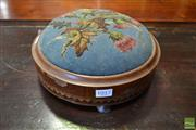 Sale 8520 - Lot 1017 - Victorian Marquetry Round Footstool, with glass bead thistle motif embroidery