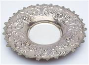 Sale 8414A - Lot 41 - A Viennese silver plate with repousse floral decoration,  D  32cm, weight approx: 639g