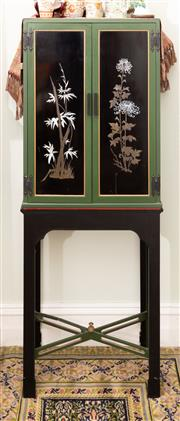 Sale 8653A - Lot 91 - A Japanese mother of pearl inlaid painted timber display cabinet with a well fitted interior on stand, minor damage to stretcher bas...