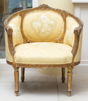 Sale 8677B - Lot 549 - A pair of early French bergeres, upholstered in yellow silk with Arcadian scenes, H 90cm x W 80cm, D 60cm