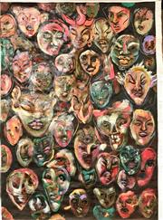 Sale 8797 - Lot 2064 - Simon Ubud - Many Faces, acrylic on canvas 214 x 150cm