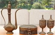 Sale 8976H - Lot 61 - A Indo persian brass coffee Pot lidded box and two covered cups. Tallest 32cm