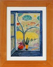 Sale 9028 - Lot 2078 - Geoff (Geoffrey) Harvey Open Window 1993 oil on board, 59 x 47cm, signed verso, Robin Gibson Gallery label verso -