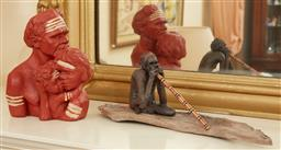 Sale 9097H - Lot 65 - An Aboriginal figural group of mother, father and child together with a didgeridoo player on bark by Marie Jones, Length of bark 31cm