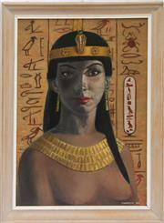 Sale 8319 - Lot 19 - Oil and board painting of an Egyptian princess, signed and dated 1962