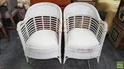 Sale 8390 - Lot 1505 - Pair of Painted Cane Tub Chairs