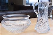 Sale 8593A - Lot 24 - A heavy gauge cut crystal Waterford bowl, D 25cm together with a heavy gauge cut crystal jug