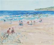 Sale 8738A - Lot 5099 - Donald Fraser (1929 - 2009) - Beach Scene 24.5 x 30cm