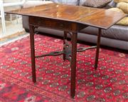 Sale 8746 - Lot 1082 - A George III mahogany Pembroke table with frieze drawer, square moulded legs and stretcher base. Width: 75 cm