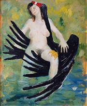 Sale 8787A - Lot 5052 - Clifton Pugh (1924 - 1990) - Leda and The Swan 1989 110 x 90cm